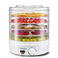 Green Blue GB190 Dörrautomat mit Temperaturregler 35-70° Nahrungsmitteltrockner für Pilze, Gemüse und Früchte 5 Platten 4,5cm 350W, White