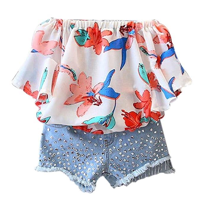 Toddler Kid Baby Girl Off Shoulder Top Denim Jeans Short Pants Clothes Outfit UK