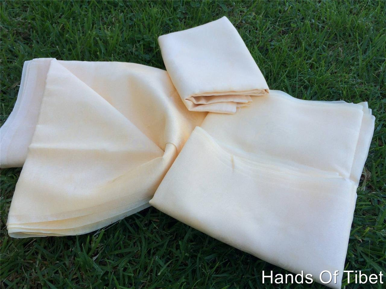 Traditional Tibetan Prayer Scarves Off White Lot of Four Set by Hands Of Tibet (Image #2)