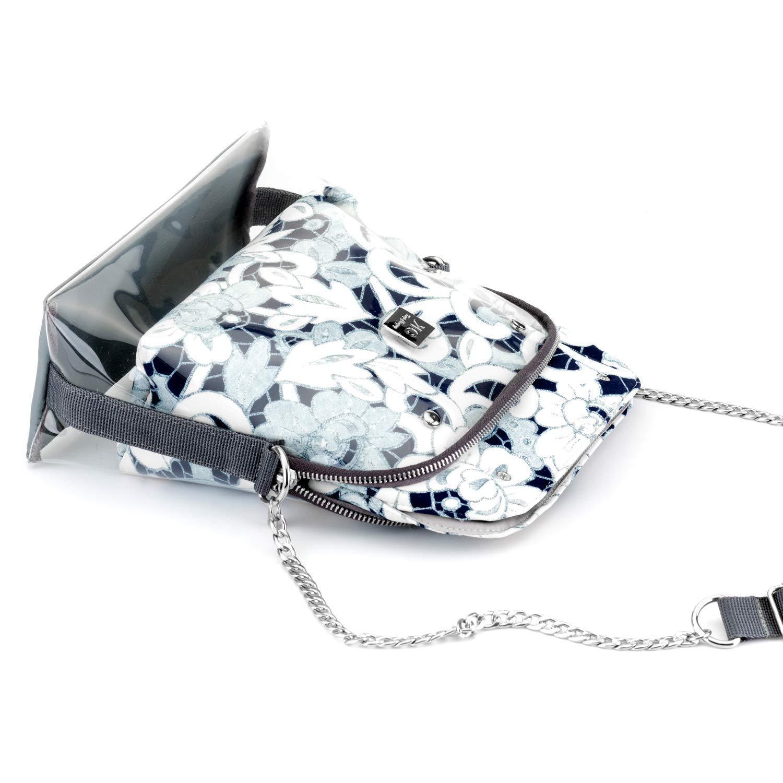 Womens Medium Handbag with Extra Floral Insert Holiday Gift Set for Her Designer Trendy Versatile grey Glitter Evening Crossbody Bag