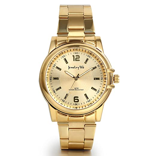 02ae1941b4b9 JewelryWe Reloj Dorado para Hombre Caballero