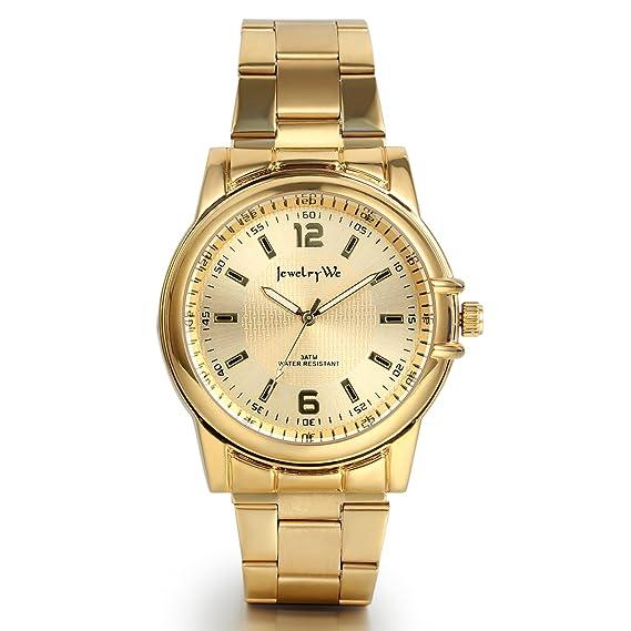 94a6fd258 JewelryWe Reloj Dorado para Hombre Caballero, Acero Inoxidable de Alta  Calidad, Reloj de Cuarzo Movimiento Japonés, Buen Regalo para Su Amor:  Amazon.es: ...