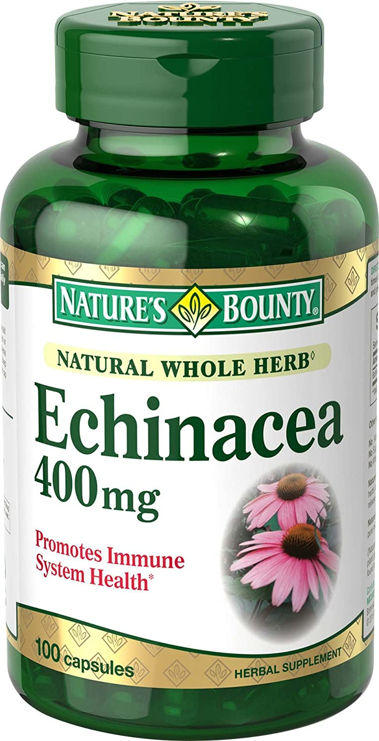 Nature's Bounty Natural Whole Herb Echinacea 400mg, 100 Capsules(Pack of 2)
