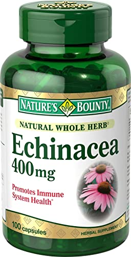 Nature s Bounty Natural Whole Herb Echinacea 400mg, 100 Capsules Pack of 2