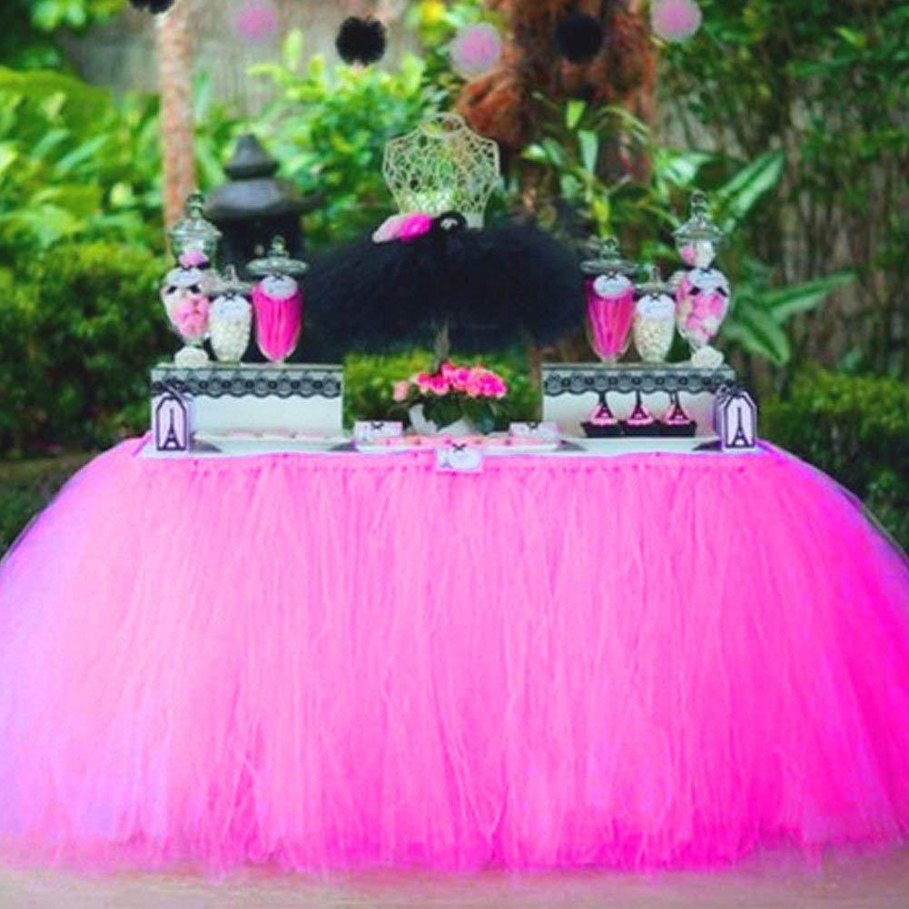 Amazon.com: Tulle Table Skirt Fabric Tutu Table Cloth for Rectangle ...