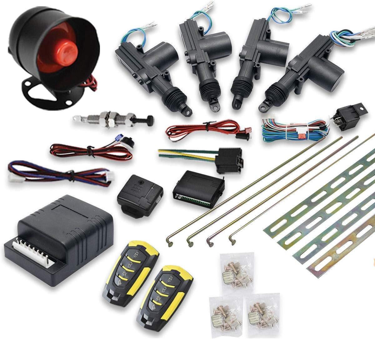 MASO - Kit de Bloqueo Central para Coche, 4 Puertas, Sistema de Entrada sin Llave + Sistema de inmovilizador de Alarma antirrobo con Sensor de Choque, Universal, se Adapta a Todos los Ca