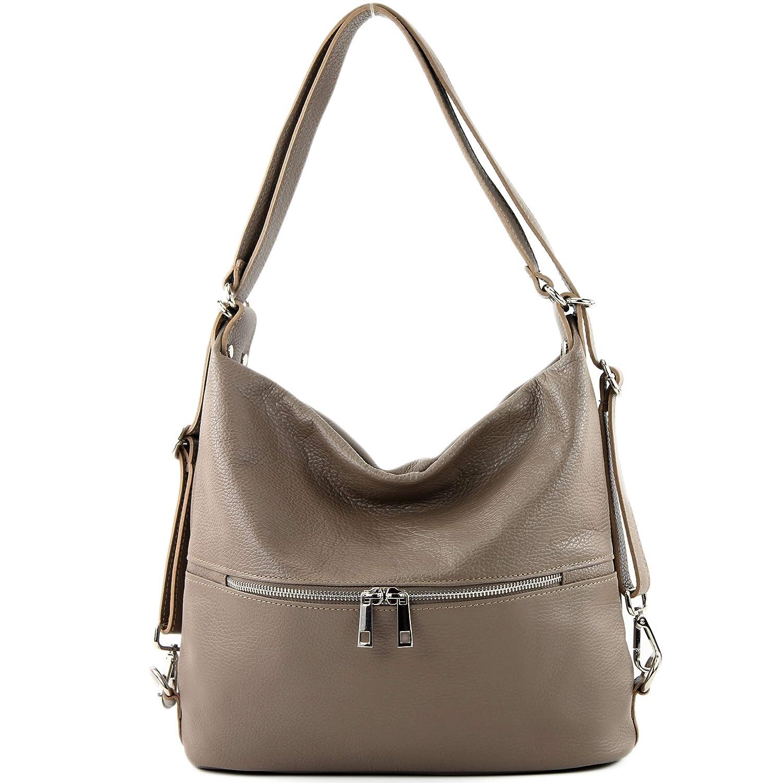 modamoda de – T189 – ital. dam ryggsäck väska 2 i 1 av läder Mullvadsbrunt