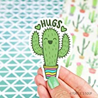 Cactus Sticker, Hugs Sticker, Cute Folder Stickers, Vinyl Stickers, Stocking Stuffers, Anniversary Gift, Gift For Guy, Car Decal, Cacti Art
