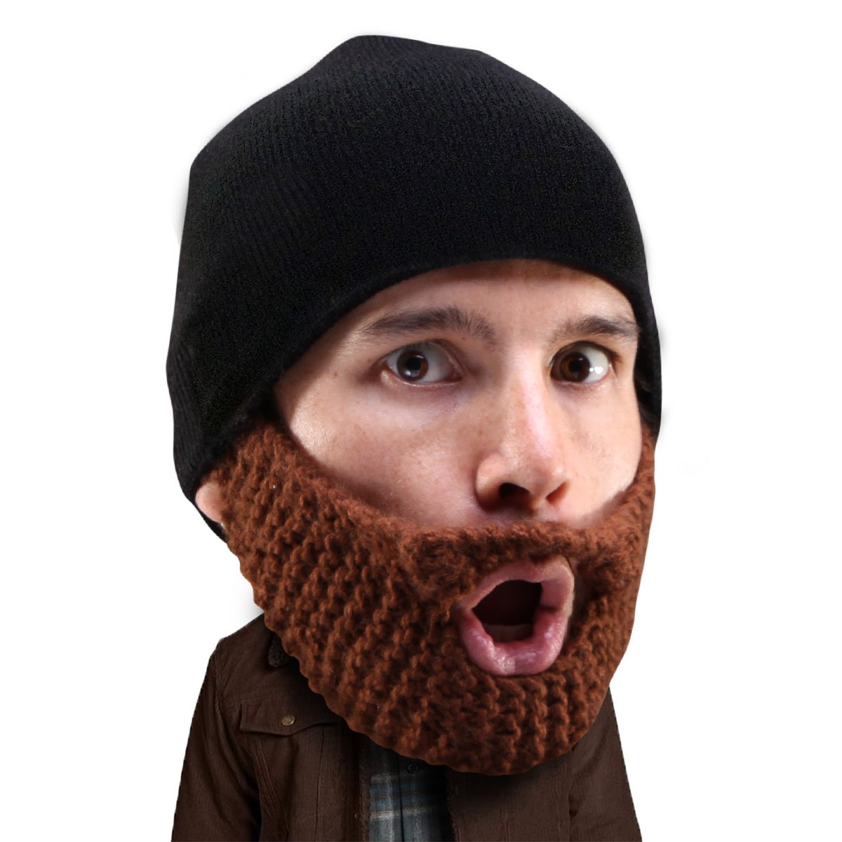 b74c0553c17b9 Amazon.com  Beard Head Stubble Populous Beard Beanie -Funny Knit Hat and  Fake Beard Facemask Brown  Clothing