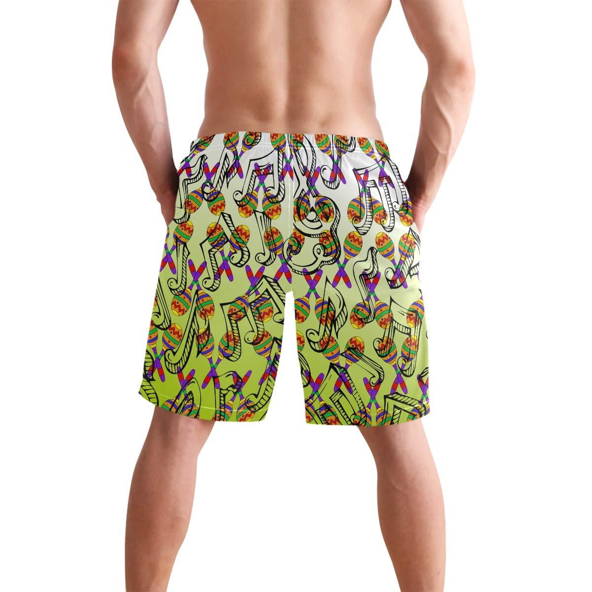 DongDongQiang Men Summer Mexican Maracas Instruments Quick Dry Volleyball Beach Shorts Board Shorts