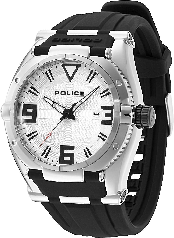 POLICE P13093JS-04 - Reloj analógico de Cuarzo para Hombre con Correa de Caucho, Color Negro