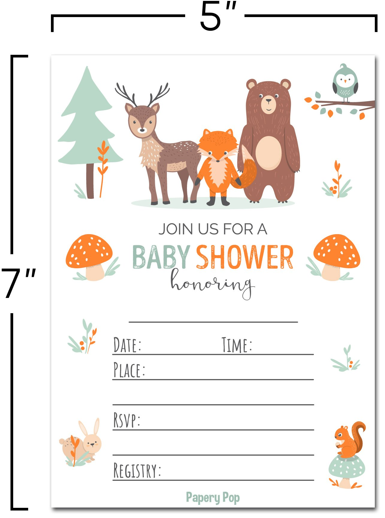 Papery Pop 30 Baby Shower Invitations Boy or Girl with Envelopes (30 Pack) - Gender Neutral - Fits Perfectly with Woodland Animals Baby Shower Decorations and Supplies by Papery Pop (Image #4)
