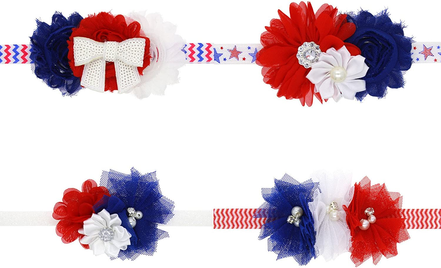 Amercian Flag Headband 4th of July Hairband Baby Girls Bow Knot Elastic Headwrap