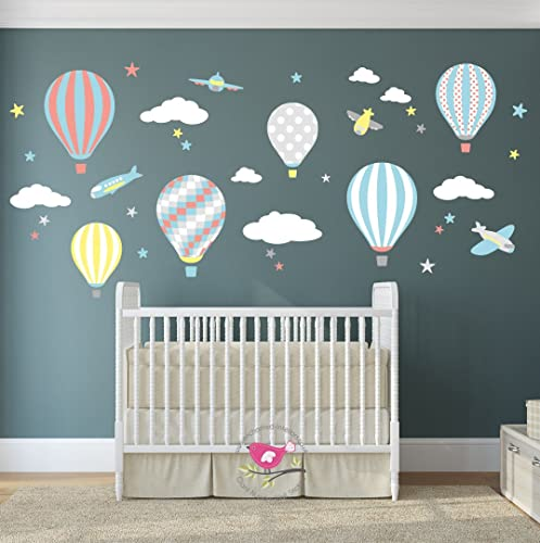 Hot air balloon wall stickers planes white clouds stars kids wall decal