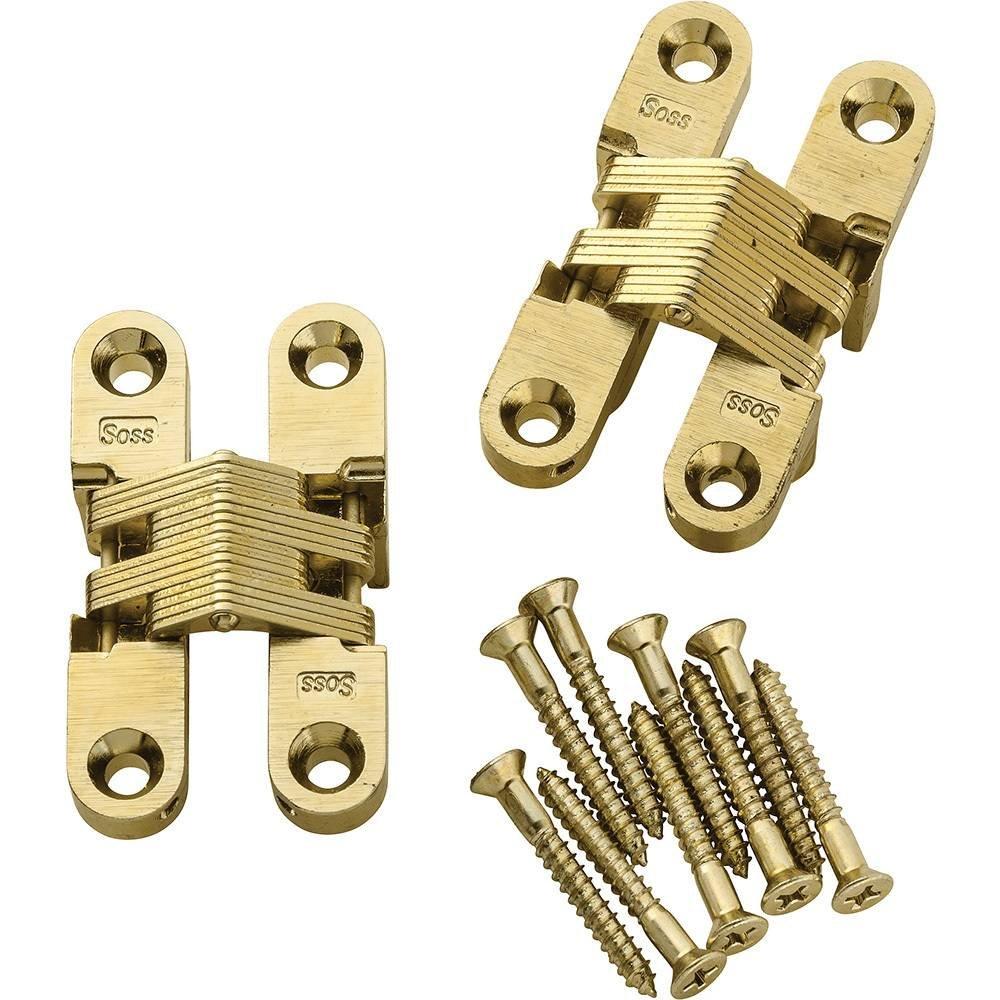Satin Brass Soss Concealed Hinge, Wings measure 1/2\' Wide x 2-3/8\' L. for 3/4\', SOSS #204 Wings measure 1/2 Wide x 2-3/8 L. for 3/4