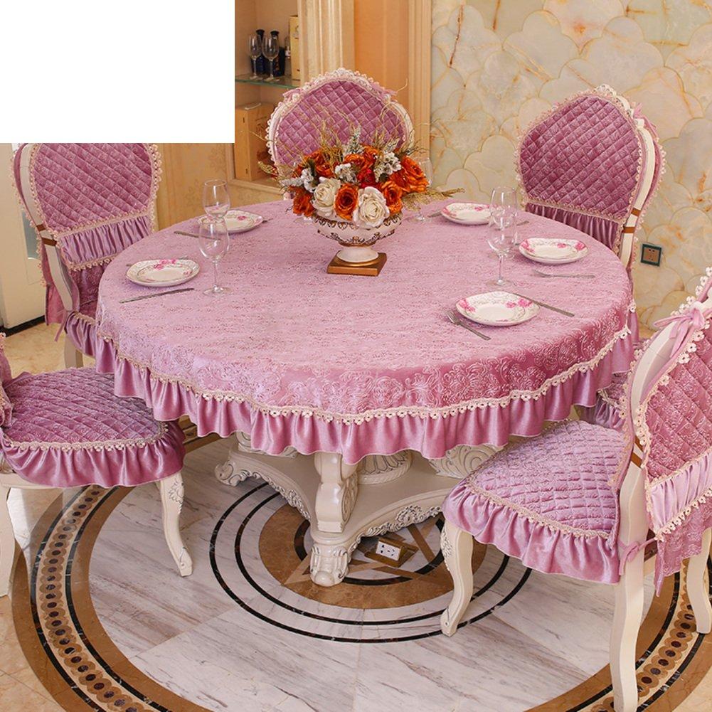 European-Style Luxus Tuch  Living Room minimalistischen Tischdecke  moderne Volltonfarbe Tischdecke Allgemeine Dicke Tischwäsche Rundtischdecken-A Durchmesser195cm(77inch) A Durchmesser115cm(45inch)