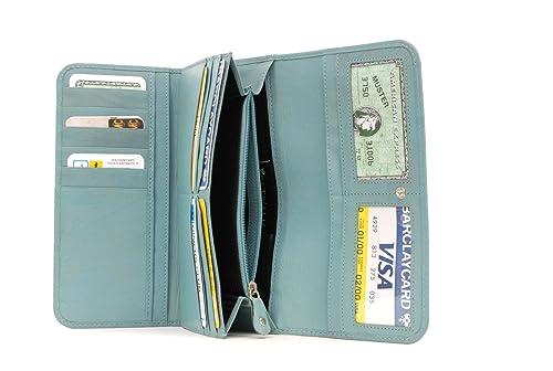 RFID - CATWALK COLLECTION - GEMMA - Cartera de uso diario - Con caja de regalo - Cuero - Azul: Amazon.es: Zapatos y complementos