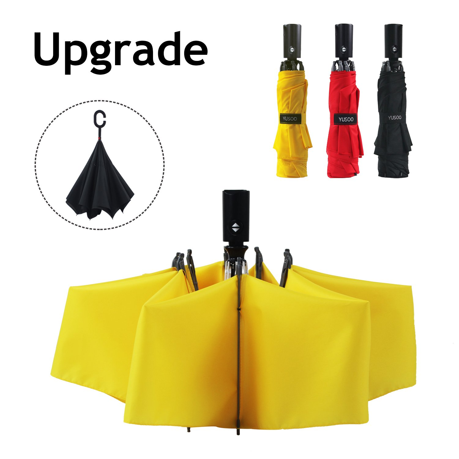 YUSOO Automatic Compact Travel Umbrella with Reverse,210T Auto Open Close Folding Strong Windproof UV Umbrella For Women Men,Yellow