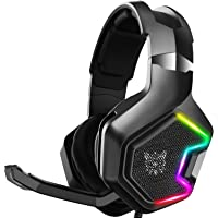 Onikuma Gaming Headset with Noise Cancelling Microphone, LED RGB Light Headphones with 7.1 Surround Sound, USB…