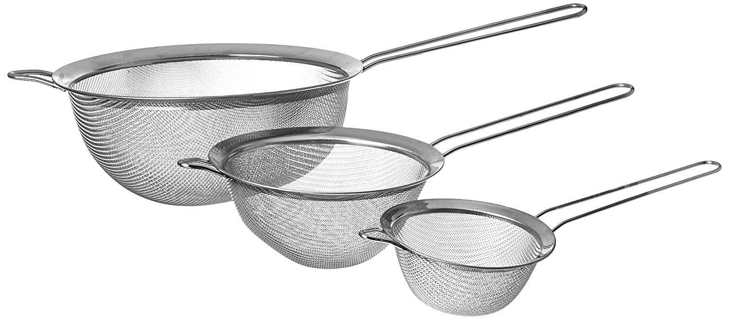 Fine Mesh Stainless Steel Strainers All Purpose Extra Deep Food Strainer and Colander Sieve for Superior Baking and Cooking Preparation - 3 Pack Procizion MSPROD
