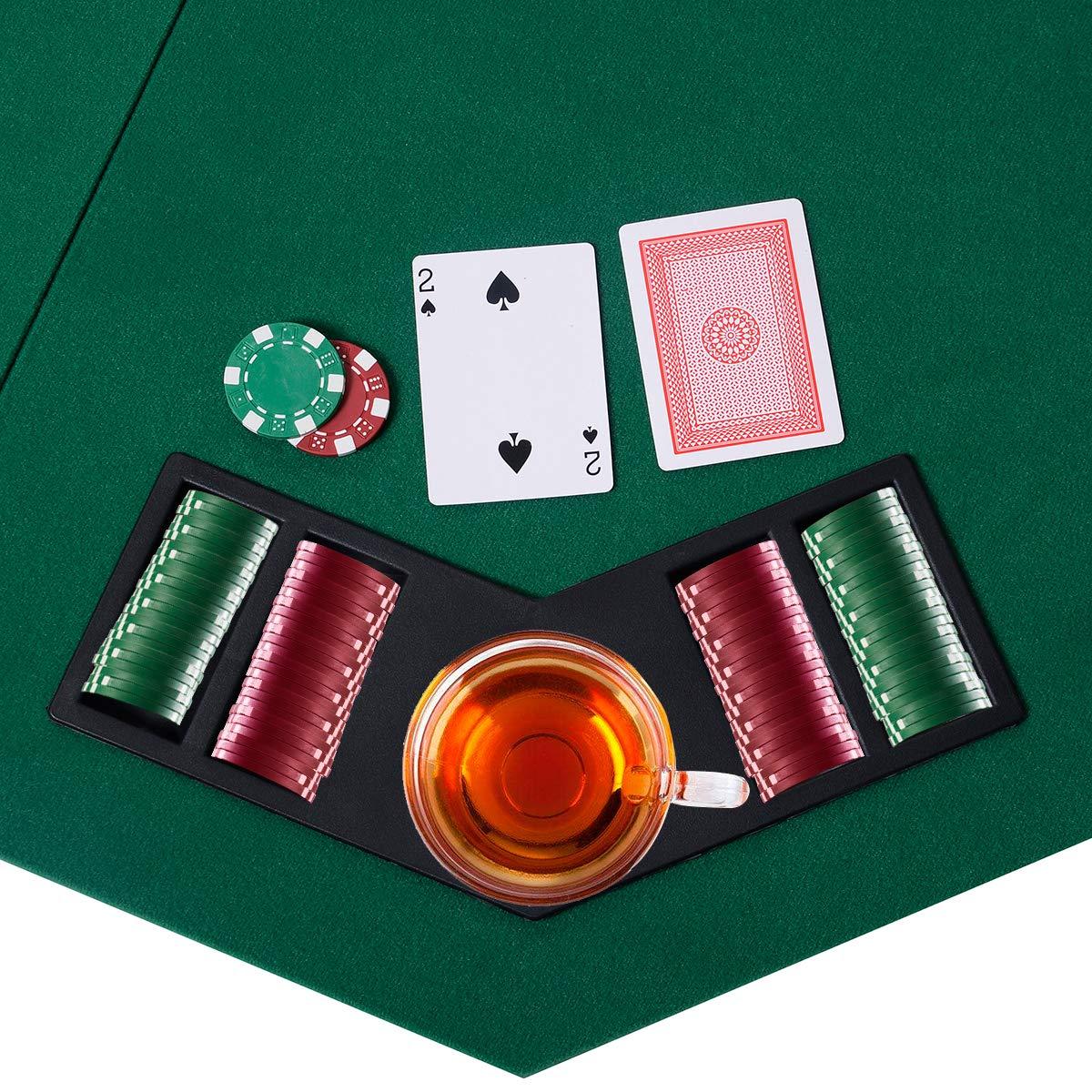 Giantex 48 Folding Poker Table Top Green Octagon 8 Player Four Fold Folding Poker Table Top /& Carrying Case