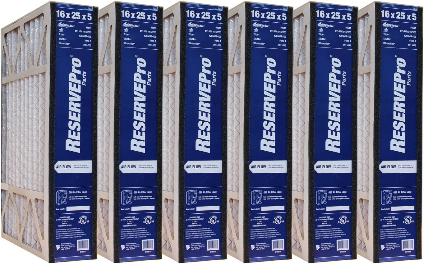 GeneralAire # 4541 MERV 11 for # GF 4511 ReservePro 16x25x5 furnace filter MEASURE CAREFULLY BEFORE ORDERING ! Actual Size:15 5//8 x 24 3//16 x 4 15//16 Case of 3 Filters