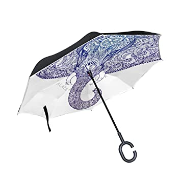 BENNIGIRY Paraguas Inverso Plegable Reverso Cabeza de Elefante Indio Doble Capa, Protección UV Grande Recta