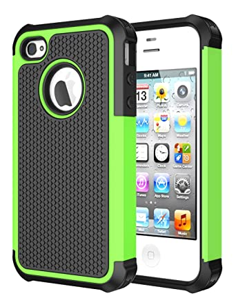 reputable site 559d7 71cee iPhone 4 Case,AOCO Double Durable Layer Soft Silicone Armor TPU Case for  Apple iPhone 4/4S (Green)