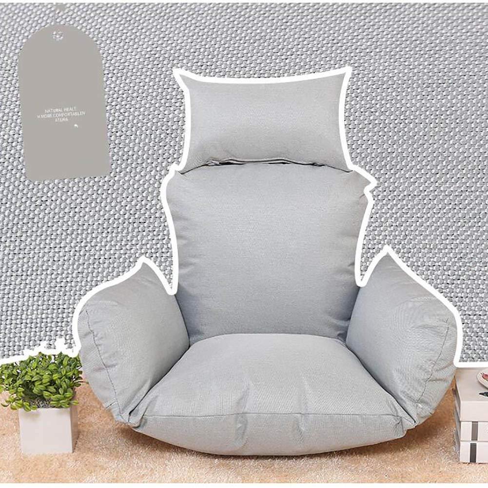 WJT@YX Hängenden Korb Pp-Baumwolle gefüllt Ei Stuhl-Pads, Große Sitzkissen Hängende Ei gefüllt Sessel Sitzkissen Swing Chair Pad Wiege Stuhl Matte Leinenstoff-grau Tuch + Liner + Füller 814676