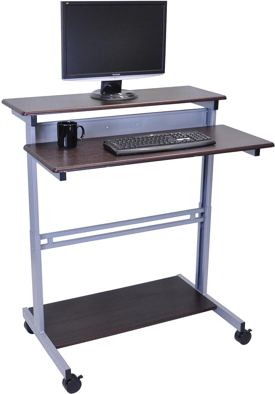 Ergonomic Computer Desk Amazoncom 40 Dark Walnut Shelves Mobile Ergonomic Stand Up Desk
