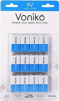 12-Pack Voniko Ultra Alkaline 9V Batteries