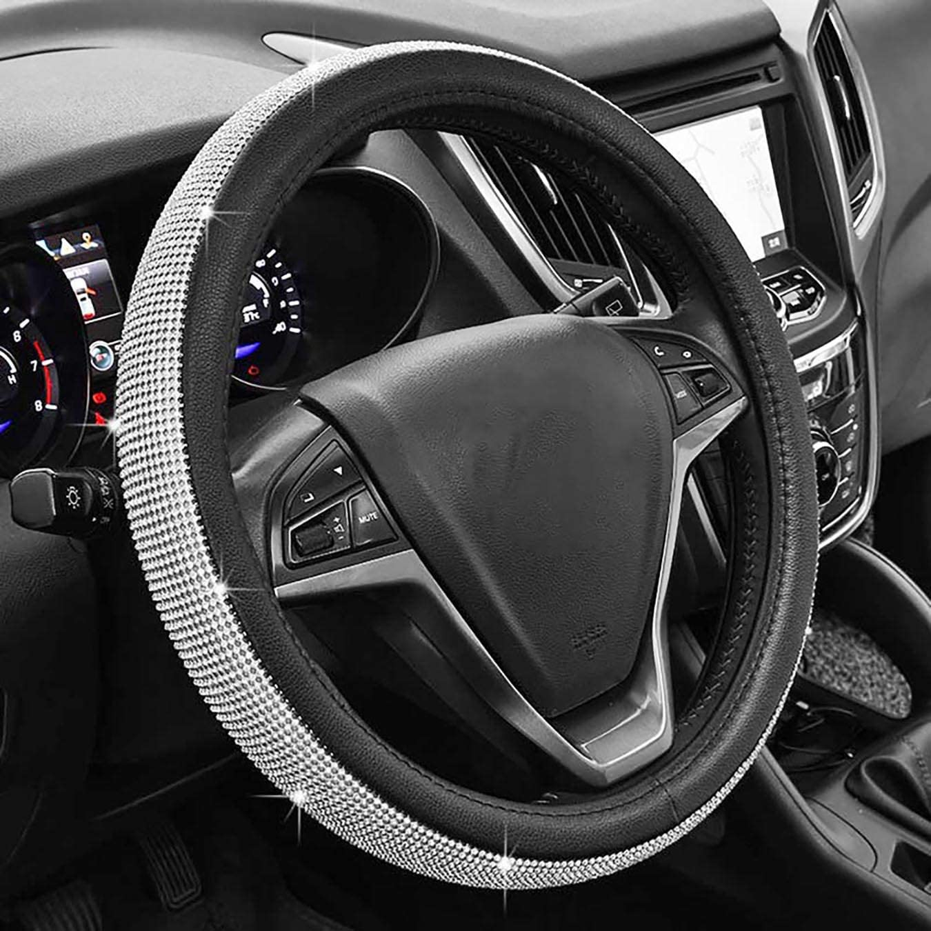 Universal Sparkly Diamant Auto Lenkradabdeckung 38cm 15 Voll Bling Bling Strass Leder Lenkradabdeckung Autoinnenraum Auto Styling Dekor Zubehör Black Auto