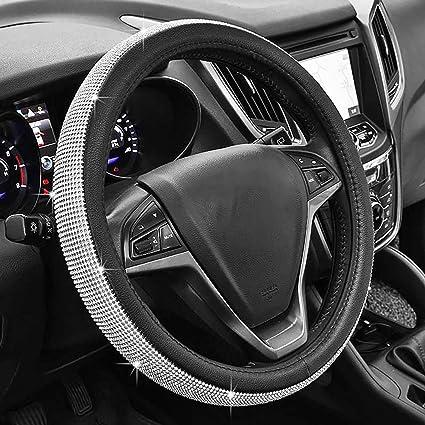 coprivolante per Auto con Bellissimi Strass Morbido KKmoon Accessori per Auto con Strass Luccicanti in Pelle