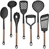 COOK With COLOR 7 Piece Black Nylon Cooking Utensil Set with Copper Handles - Black
