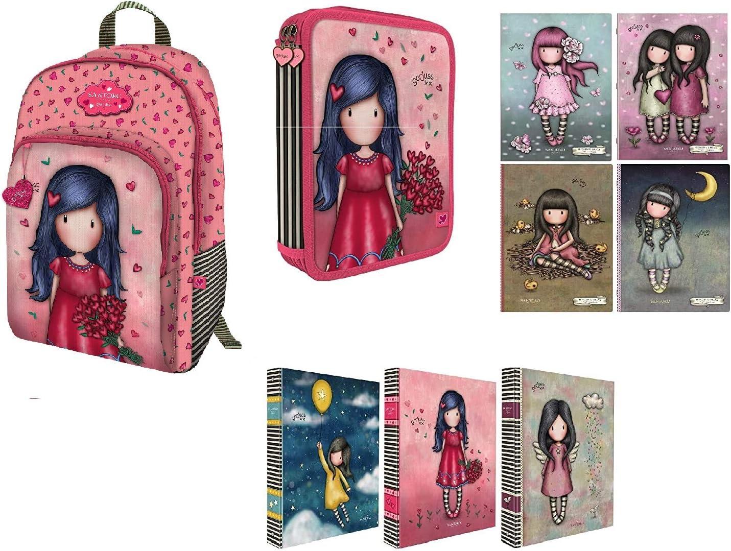 Set escolar mochila 3 cremalleras + estuche 3 cremalleras + diario + 4 cuadernos Maxi 100 g Love Grows compatible con Gorjuss y Santoro: Amazon.es: Equipaje