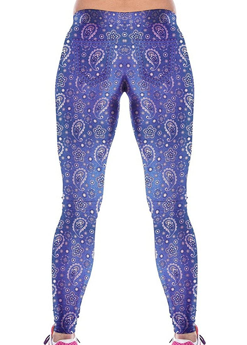d4ef56470d13a Amazon.com: RedBeana Women Jeans Paisley Print Workout Yoga Leggings Tight  Pants Multi Color One Size: Clothing