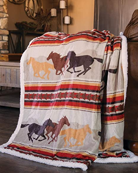 Amazon Com Carstens Inc Wrangler Running Horse Country Sherpa Fleece Throw Blanket Brown One Size Home Kitchen