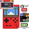 DigitCont Retro Mini Handheld Arcade, Built-in with 500 Classic Games Double Players Mode Miniature Console Handheld Portable Game Cabinet Machine Rechargeable Battery Inside Support Connect TV Red