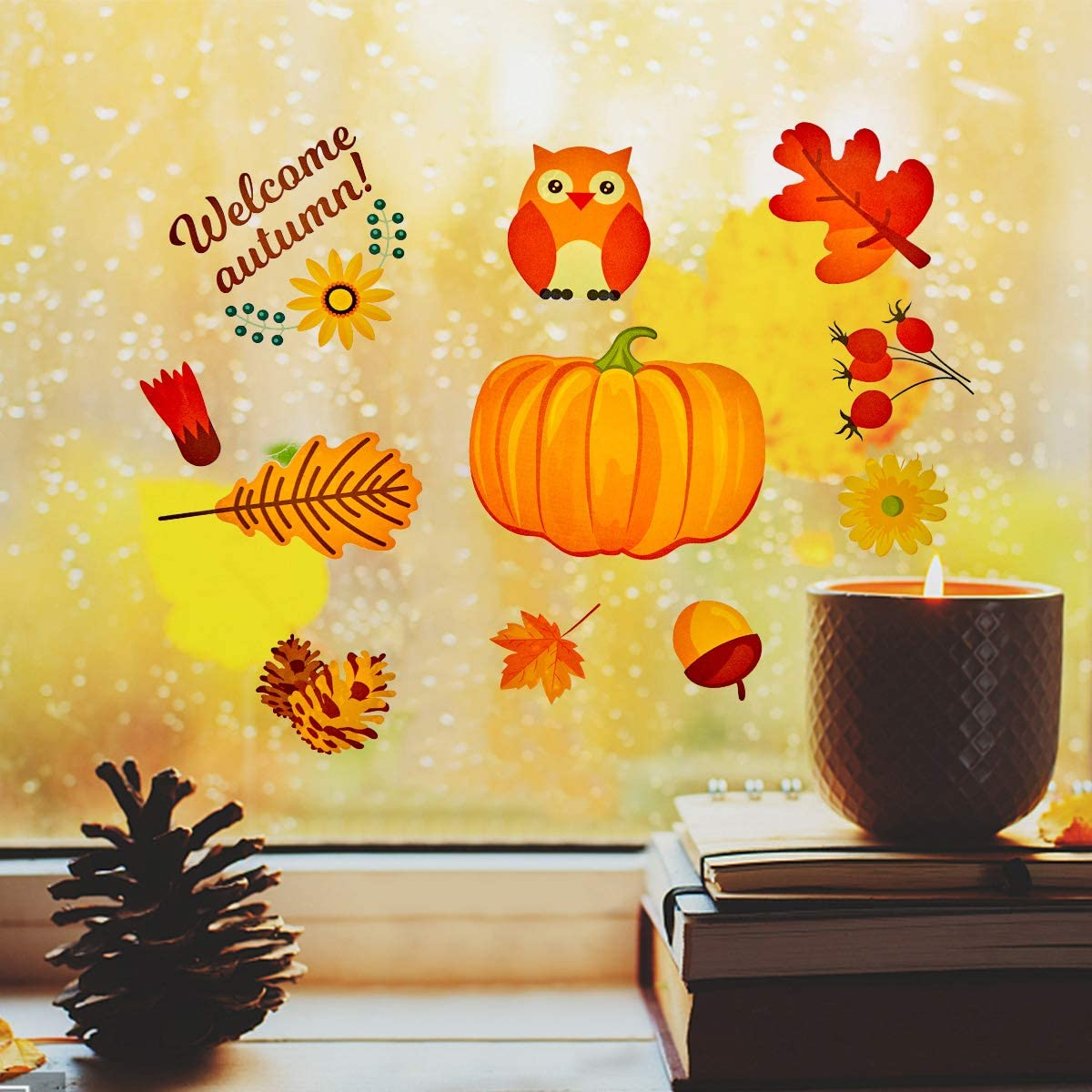 Autumn Party Atmosphere 144 Pcs 12 Sheets Fall Thanksgiving Window Stickers Non-Adhesive Static Cling Pumpkin Maple Leaf Window Cling for Decoration DIY Family Fun Kids Window Stickers
