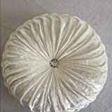 Zituop Home Decorative Suede Round Pumpkin Solid Throw Pillows for Couch, 13.8inch (white)