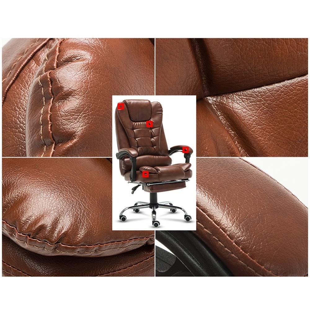 Dalovy bekväm kontorsstol med hög rygg, justerbar kontorsstol, svängbar dator PU läderstol med nackstöd och korsryggsstöd Brun
