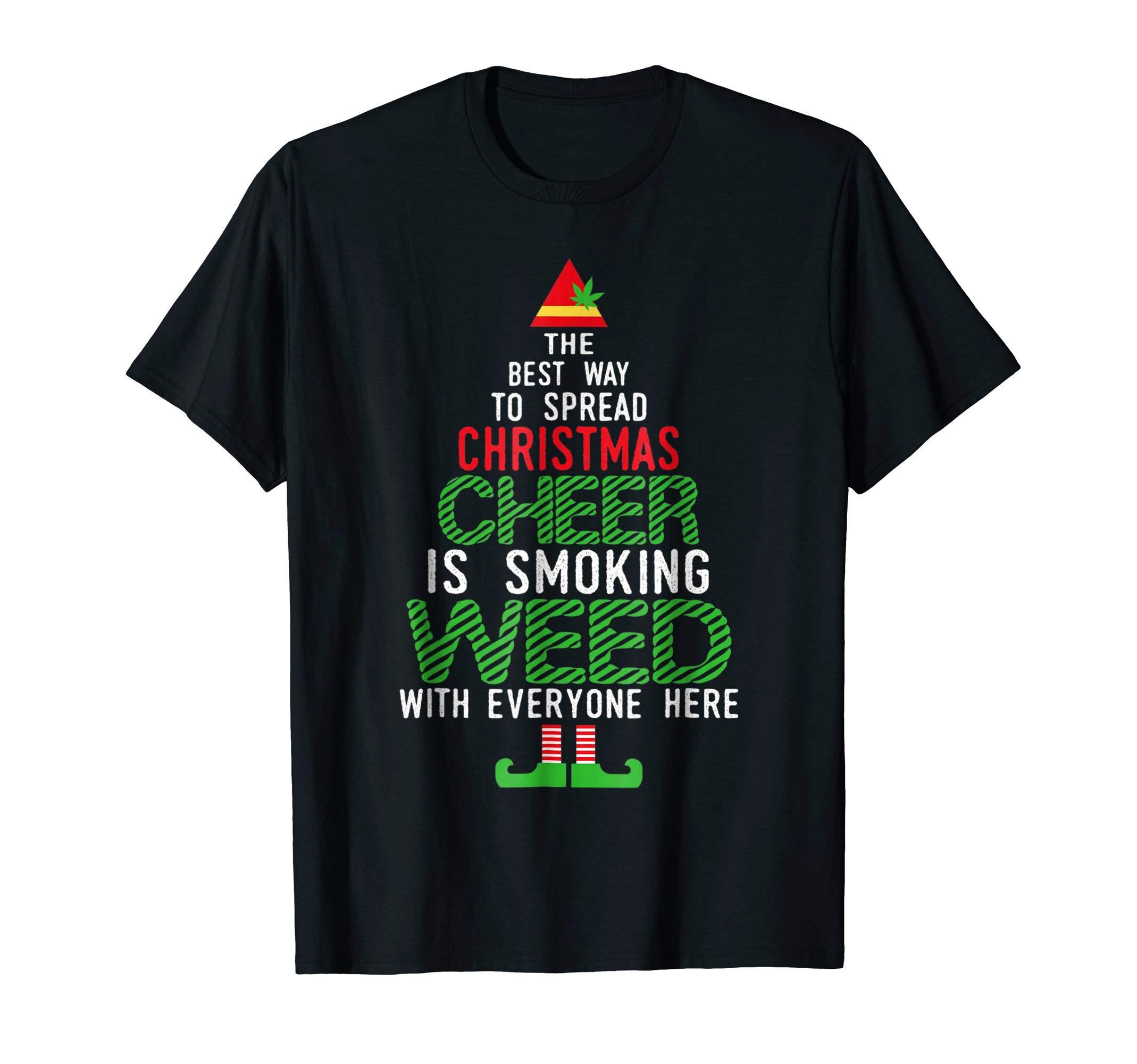 Weed Smoking Elf Squad   Funny Cannabis Christmas T-Shirt