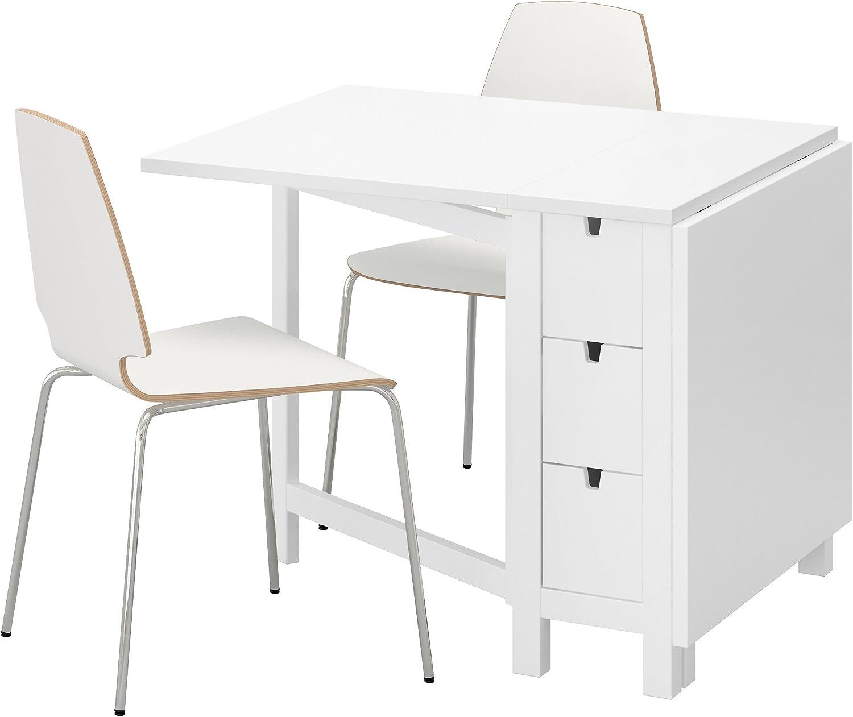 Ikea Norden Vilmar Table Et 2 Chaises Blanc Blanc Amazon Fr