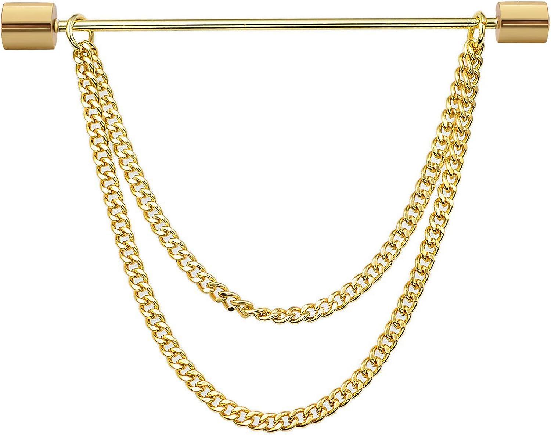 UUDUO Men's 18K Gold Brass Collar Bar with Hanging Chain Tassel Silver Black Circular Column Screw Thread Head Collar Brooch Shirt Tie Bar