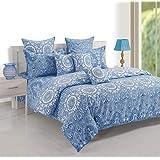 Swayam King Size, Cotton,Graphic Pattern, Blue - Bedding Sets