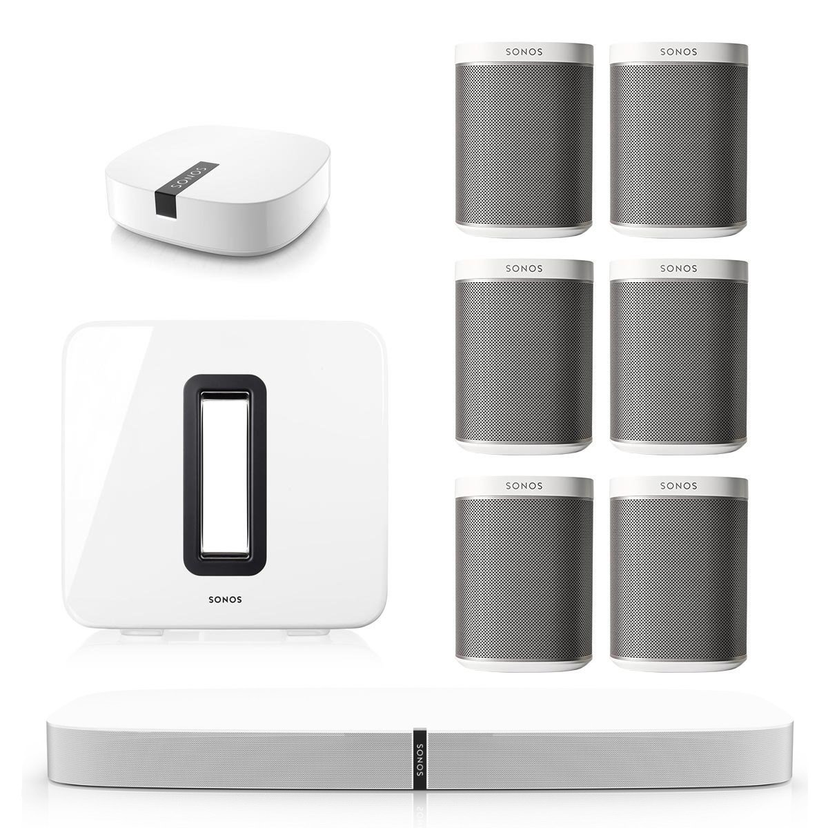 Sonos PLAYBASE Multi-Room Whole House Home Theater System with PLAY:1 Speakers, SUB Wireless Subwoofer and BOOST Wireless Adapter (White) by Sonos