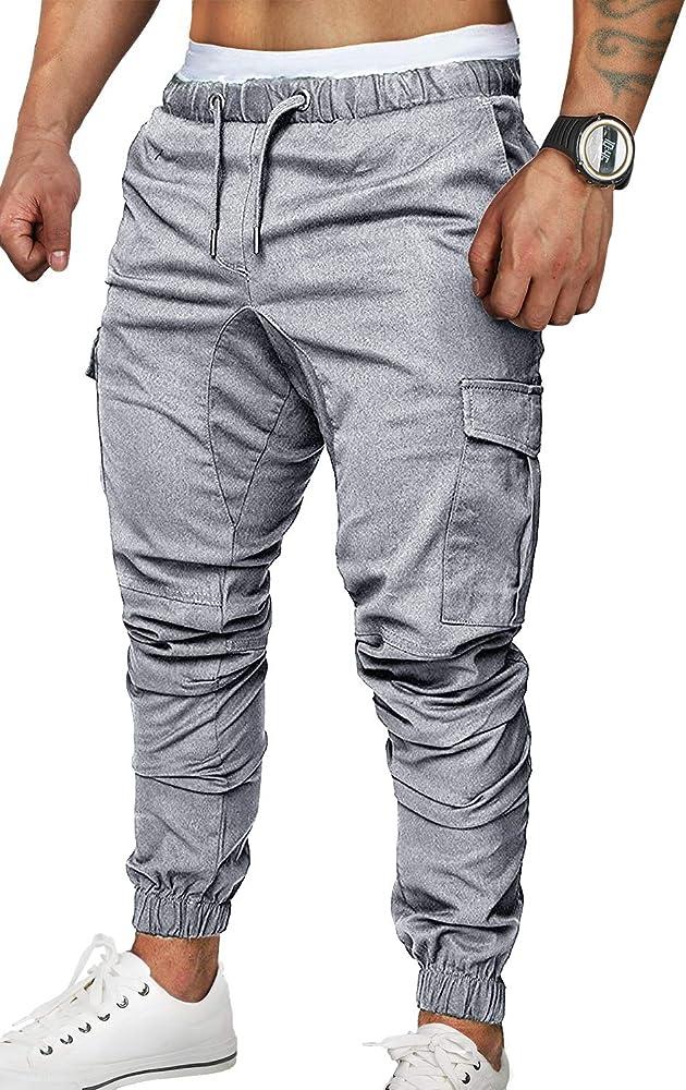 ZOEREA Pantalones Hombre Casuales Deporte Elásticos Joggers Largos Pants con Bolsillos Algodón Slim Fit Cargo Trouser de Hombres: Amazon.es: Ropa y accesorios