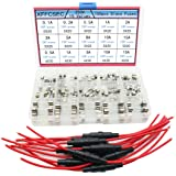 XFFCSEC 10pcs 5x20mm Fuse Holder Inline Screw Type With 18 AWG wire + 150pcs Quick Blow Glass Tube Fuse Assorted Kit Amp…