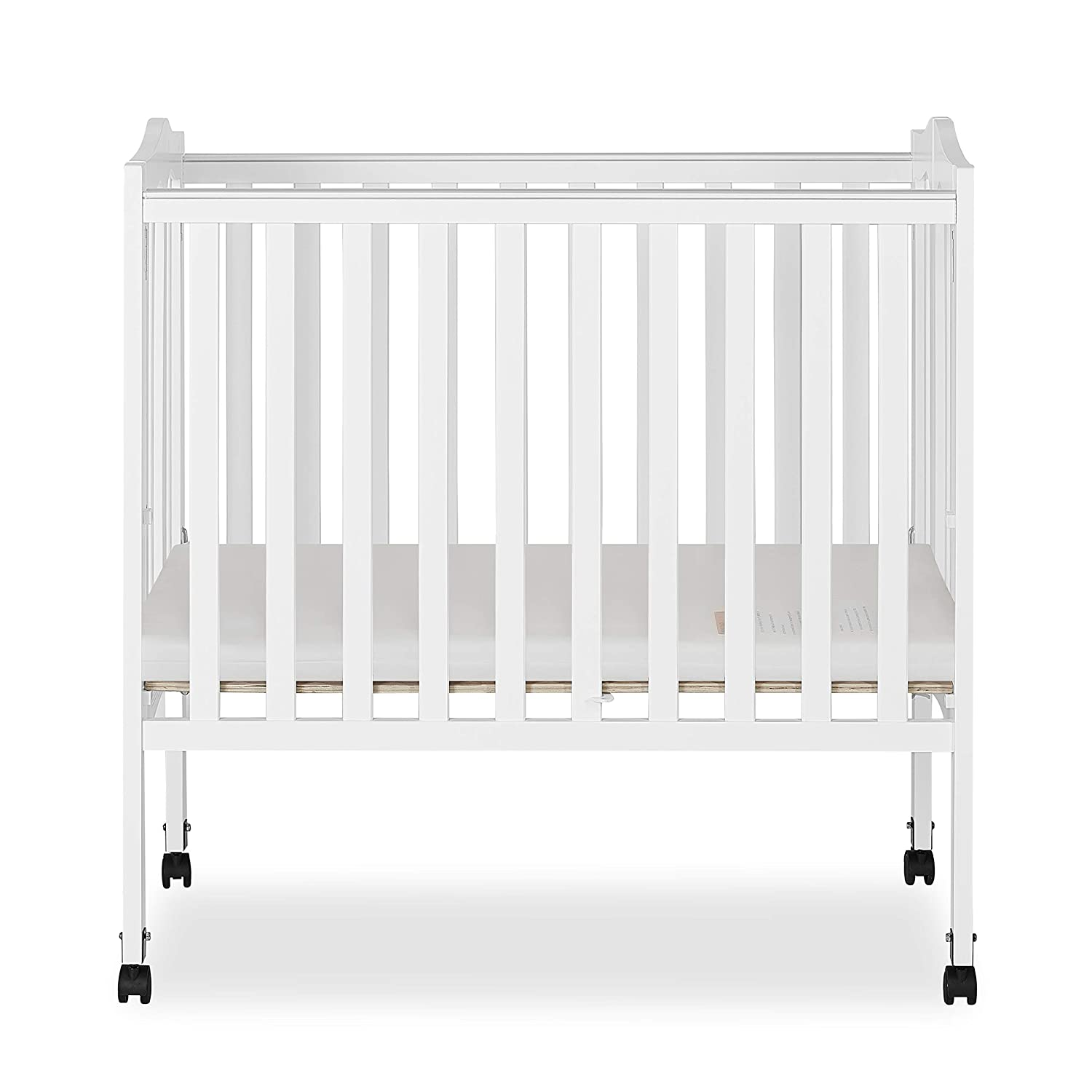Dream On Me 2 in 1 Lightweight Folding Portable Stationary Side Crib, White, Mini Crib