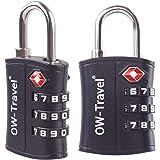 Candados TSA Combinacion Antirobo Maleta - Alta Seguridad Combinación 3 Digitos. Cerradura para Funda Maletas de Viaje, Caja Herramientas, Taquillas Vestuario, Locker : Candados Numerico Negro 2